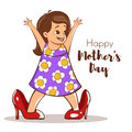 Vector hand drawn colorful illustration of happy girl trying to wear her mom`s high heels.