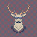 Vector hand drawn colorful illustration of hipster deer with mustaches