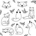Vector hand drawn cute animal set. Sketch illustration with sitting, funny and sleeping foxes. Collection of doodle cartoon