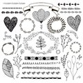 Vector hand drawn doodle romantic set. Linear illustration - flowers, wreaths, deviders, frames, leaves.