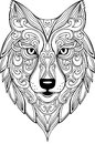 Vector hand drawn doodle wolf head illustration Royalty Free Stock Photo
