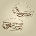 Vector hand drawn food sketch sandwich set. Royalty Free Stock Photo