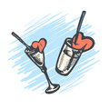 2 Vector hand drawn glasses with cocktail straw and a broken heart.