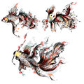 Vector hand drawn goldfish in watercolor style painted by spots Royalty Free Stock Photo