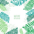 Vector hand drawn green palm tree leaves, grunge background. Royalty Free Stock Photo