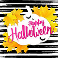 Vector hand drawn halloween lettering greetings text - happy halloween - with leaves and paper bat on watercolor striped