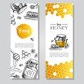 Vector hand drawn honey banners. Detailed honey engraved illust