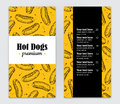 Vector hand drawn hot dog  menu. Vintage hand drawn illustration Royalty Free Stock Photo