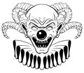 Vector hand drawn illustration of angry clown with horns. Royalty Free Stock Photo
