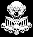 Vector hand drawn illustration of angry clown with human skulls.
