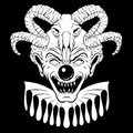 Vector hand drawn illustration of angry clown with ram skull.