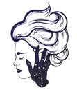 Vector hand drawn illustration of beautiful woman profile with hand of a ghost.