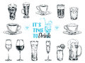 Vector hand drawn illustration with drinks Royalty Free Stock Photo