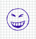 Vector hand drawn illustration of emoticon on the squared school notebook Stock Images