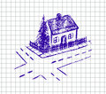 Vector hand drawn illustration of house on the squared school notebook Stock Images