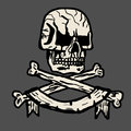 Vector hand-drawn illustration of a pirate skull