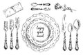 Vector hand drawn illustration with Table setting