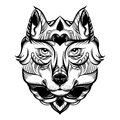 Vector hand drawn illustration of wolf with decorative elements.