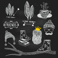 Vector hand drawn illustrations on the chalkboard Royalty Free Stock Photo