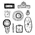 Vector hand drawn ink black and white cartoon illustration of different clocks