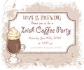 Vector hand drawn irish coffee party invitation card, vintage frame, glass and leaves Royalty Free Stock Photo