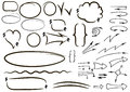 Vector hand drawn isolated sketchy arrows icons set. Hand drawn Royalty Free Stock Photo