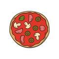 Vector hand drawn izolated pizza