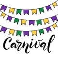 Vector hand drawn lettering illustration eps10 for Mardi gras carnival