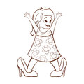 Vector hand drawn monochrome illustration of happy girl trying to wear her mom`s high heels.