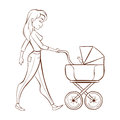 Vector hand drawn monochrome illustration of happy mother with a baby Royalty Free Stock Photo