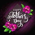 Vector hand drawn mothers day lettering with blooming alstroemeria flowers and quote - happy mothers day. Can be used as