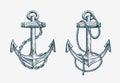 Vector hand drawn nautical anchor. Vintage sketch element ship, travel