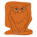 Vector hand drawn Owl sitting on branch. Ethnic patterned illustration for tattoo, poster, print, t-shirt.