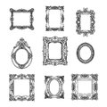 Vector hand drawn picture frames set. Sketch
