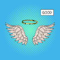 Vector hand drawn pop art illustration of angel wings and nimbus Royalty Free Stock Photo