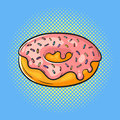 Vector hand drawn pop art illustration of donut. Fast food. Royalty Free Stock Photo