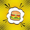 Vector hand drawn pop art illustration of hamburger. Fast food. Royalty Free Stock Photo