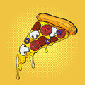 Vector hand drawn pop art illustration of pizza. Fast food. Royalty Free Stock Photo