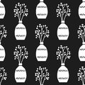 Vector hand drawn poster in the style of `Hygge` and a pattern with a vase of flowers with Scandinavian folk patterns. Royalty Free Stock Photo