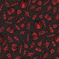 vector hand drawn red witch bottles seamless pattern on the dark gray background. Includes potions, elixirs and vials