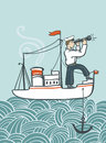 Vector hand drawn  sea poster with ship, waves and seaman. Royalty Free Stock Photo