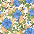 Vector hand drawn seamless pattern of blue rose flowers with buds, leaves, thorny stems and yellow quartz crystals