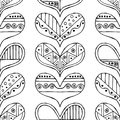Vector hand drawn seamless pattern, decorative stylized black and white childish hearts. Doodle sketch style, graphic illustration