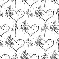 Vector hand drawn seamless pattern, decorative stylized black and white cute hearts. Doodle sketch style, graphic illustration, ba