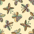 Vector hand drawn seamless pattern, decorative stylized childish butterflies. Doodle style, tribal graphic illustration Cute hand