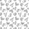 Vector hand drawn seamless pattern, decorative stylized childish hearts. Doodle style, tribal graphic illustration Cute hand drawi