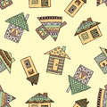 Vector hand drawn seamless pattern, decorative stylized childish houses Doodle style, graphic illustration Ornamental cute hand dr
