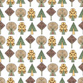 Vector hand drawn seamless pattern Decorative stylized childish trees Doodle style, tribal graphic illustration Ornamental cute ha