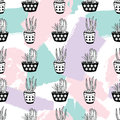 Vector hand drawn seamless pattern with geometric and brush painted elements, cactuses and succulents in pots