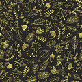 Vector hand drawn seamless pattern with gold autumn elements: foliage, berries, acorns, mushrooms, oak and maple leaves. Royalty Free Stock Photo